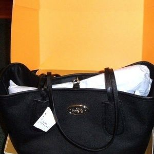 COACH BLACK LEATHER TAXI TOTE - NWT